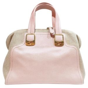 Fendi pink leather canvas chameleon handbag